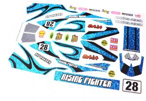 Blue Glitter Effect Old School Bling themed vinyl stickers to fit R/C Tamiya Rising Fighter